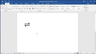 How to type Reversible Reaction Arrow Symbol in Word