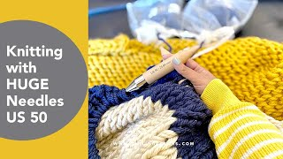 Knitting with huge needles, DIY Chunky Knit Blanket using two strands of yarn