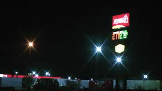 night view of Flying J Truck Stop in Effingham, Illinois with lots and lots of trucks