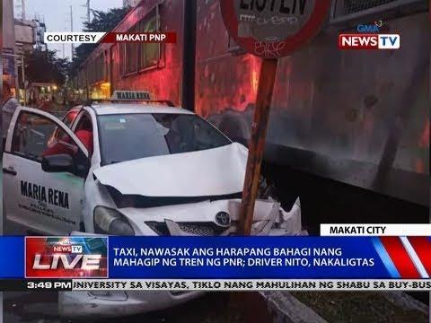 [GMA]  NTVL: Taxi, nawasak ang harapang bahagi nang mahagip ng tren ng PNR; driver nito, nakaligtas