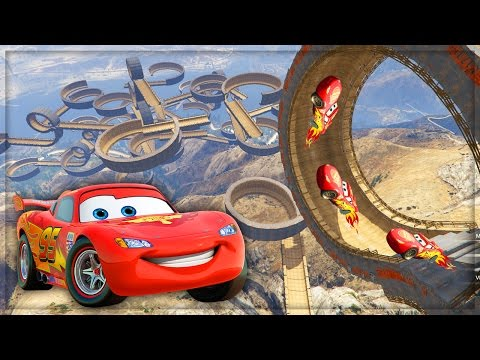Disney Cars Lightning McQueen VS Worlds Biggest Ramp & Loops Stunt Challenge! #3 (GTA 5 Mods)