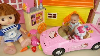 Baby doll juice cart and Hello Kitty car toys play