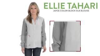 Elie Tahari Jayce Color-Block Silk Blouse - Long Sleeve (For Women)