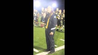 Amanda Branson singing the National Anthem at Homecoming