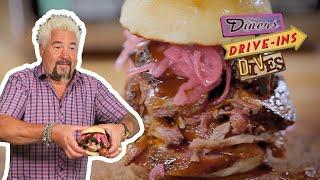 Guy Fieri Tries A Pulled Pork, Brisket AND Sausage Sandwich On #DDD   Food Network