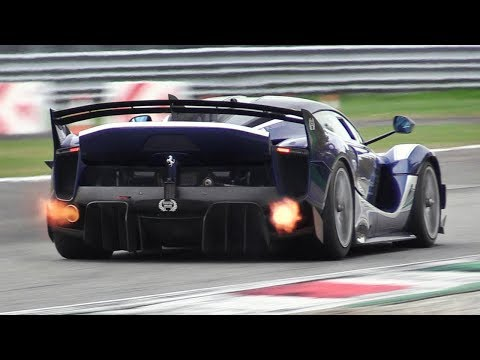 8 x Ferrari FXX K EVO Pure Sound at Monza Circuit: Accelerations, Flames & Hot Glowing Brakes!