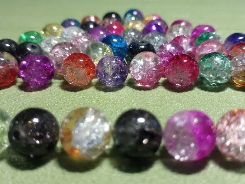 80Pcs 8mm Crystal Crack Glass Loose Spacer Beads Mixed Color