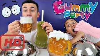 Toys AndMe Bad Baby Giant Gummy Hulk Feet VS Gross Real Food Sour Candy Challenge - Sister VS Broth