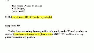 Sample F.I.R letter to Police for the lost original documents (Voter ID/PAN/Passport)