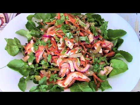 Салат Азия с копченой курицей - изысканный, пикантный, ароматный, сытный и без майонеза.