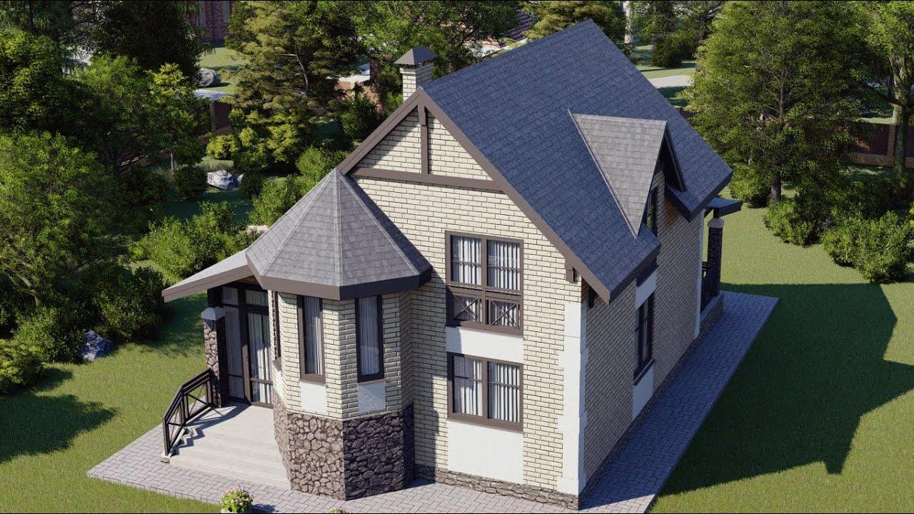 Двухэтажный дом с эркером и двумя санузлами