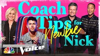 Kelly Clarkson, John Legend and Blake Shelton Share Tips for Rookie Nick Jonas - The Voice 2020