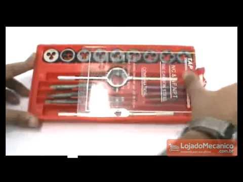 Jogo de Macho e Tarracha com 20 peças - Video
