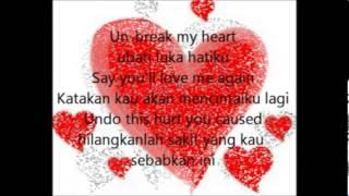 Lirik Lagu Unbreak My Heart