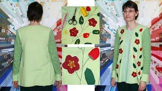 Upcycling –  A-Linien-Shirt nähen aus Spannbettlaken, Jacke und Stoffrest