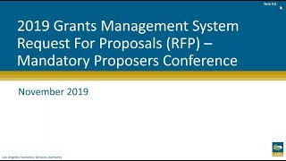 2019 Grants Management System RFP: Mandatory Proposers Conference Webinar