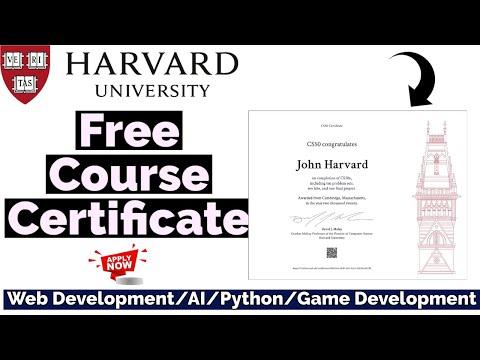 Harvard University Free Course Certificate | Web Development/AI ...