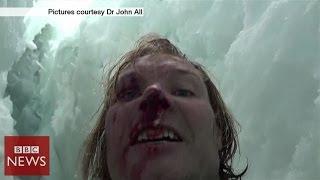 Climber films 20m crevasse fall in Himalayas - BBC News