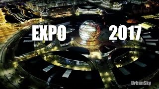 EXPO 2017. Astana.  ОТКРЫТИЕ ЭКСПО через 20 дней. Съемка с квадрокоптера DJI Inspire 1 pro. Ночь.