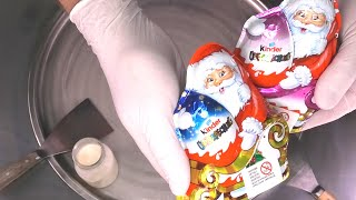 kinder Surprise Eggs - Ice Cream Rolls | Egg opening, Toy unboxing & making Chocolate Ice Cream ASMR