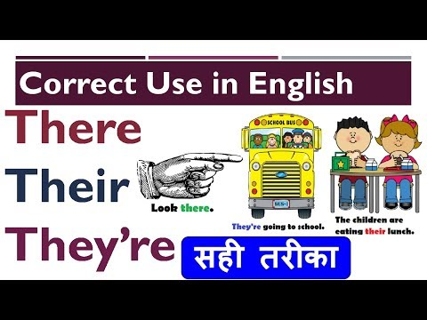 Correct use of  'there', 'their', 'they're' in English with examples sentences in Hindi