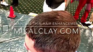Dark Brown Meantime Thin Hair Enhancement Fibers truly enhanced his hair!  His wife was truly amazed