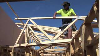 Trusses are supported to make bracing easier and safer