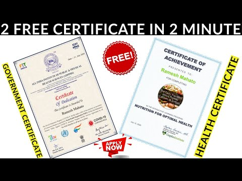2 Free Certificate | Government Certificate | Nutrition For Health ...