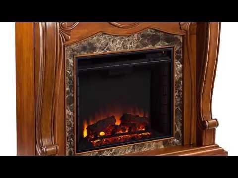 Southern Enterprises Cardona Electric Fireplace - Walnut