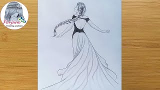 Princess Drawing - Pencil Sketch || How To Draw A Girl With Beautiful Dress And Long Hair