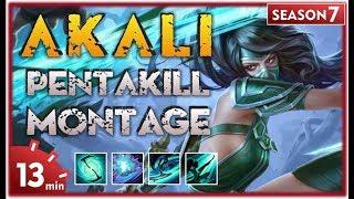Akali Montage - Best Akali Plays S7 | Akali Pentakill Compilation | Akali  Mid - League
