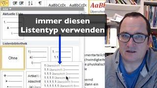 Word: Überschriften nummerieren (Gliederung)
