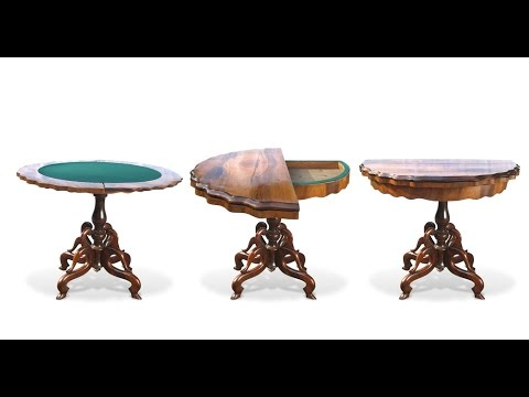 Tisch Spieltisch antik drehbare Platte Poker Kartenspiel