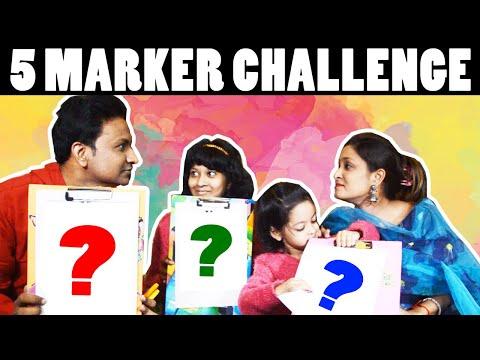 Five Marker Challenge | Blindfold Challenge | Cute Sisters