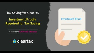 Investment Proofs Required for Tax Saving