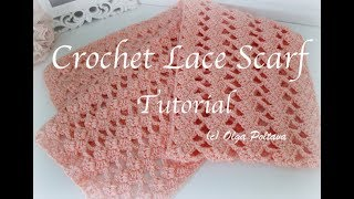 Caron Simply Soft Lace Scarf Tutorial, How To Crochet Easy Lace Scarf, Crochet Video Tutorial