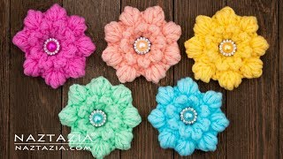 How to Crochet a Puff Flower - Flowers by Naztazia