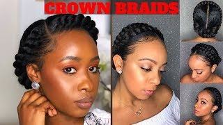 Crown/Halo Braid On Natural Hair Compilation 🦋💖
