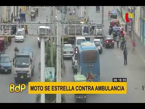 Tumbes: cámara capta choque entre moto y ambulancia