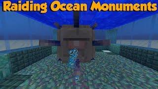 Raiding Ocean Monuments For Sponges - Minecraft