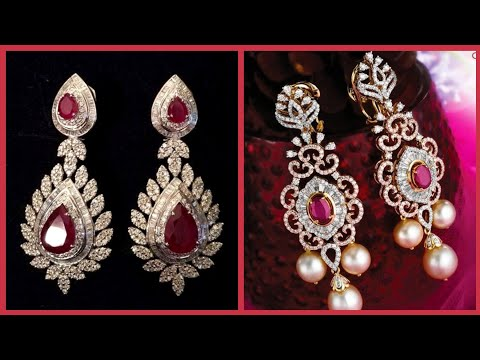 Most Running & Luxury Designs Of Diamonds And Ruby Earrings For Evening And party Wear