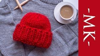 Вяжем шапку спицами из толстой мериносовой пряжи | Шапка с отворотом из пряжи KARAMEL