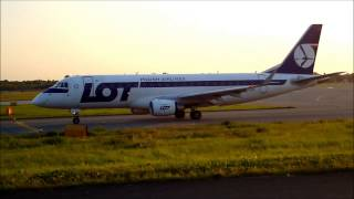 TAKE OFF FROM WARSAW CHOPIN AIRPORT: PLL LOT EMBRAER ERJ 175 SP-LIA