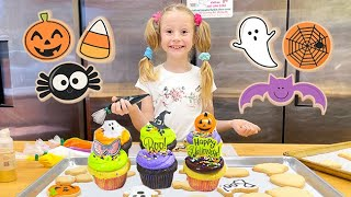 Nastya decorates cupcakes for Halloween