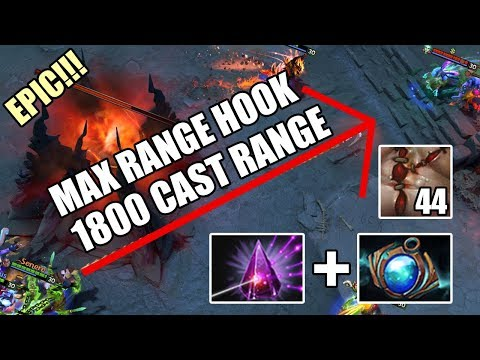 MAX RANGE HOOK PUDGE 1800 CAST RANGE Seer Stone + Aether Lens Epic Gameplay 7.24 Dota 2