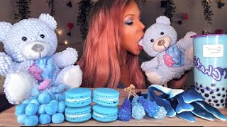 ASMR BLUE FOOD EDIBLE TEDDY BEAR STUFFING, BUBBLE TEA, MACARON, ROCK CANDY EATING SHOW 먹방 MUKBANG