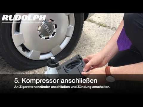 Verwendung des Pannenset (Tire Fit) bei Audi, Volkswagen, Seat oder Skoda