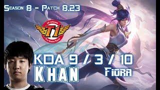 SKT T1 Khan FIORA Vs ORNN Top - Patch 8.23 KR Ranked