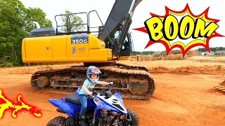 Kid Riding His Brand New ATV At Construction Site With Tractors | ATVs For Kids