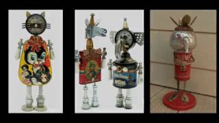 Tin Robots Crafts Ideas - Best Found Objects Robots - Recycled Craft Ideas